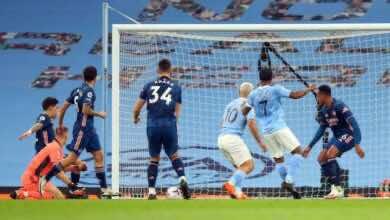 أهداف مباراة أرسنال ومانشستر سيتي فى الدوري الانجليزي (صور:AFP)