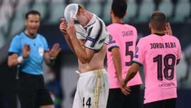 ديميرال يتعرض للطرد في مباراة برشلونة ويوفنتوس في دوري ابطال اوروبا 2020