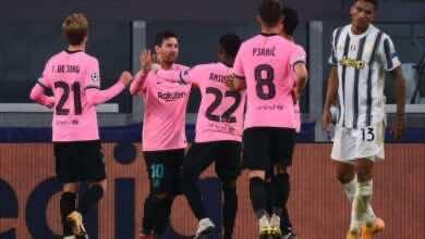 فرحة لاعبي برشلونة بالفوز على يوفنتوس 2-0 بدوري ابطال اوروبا (صور:AFP)