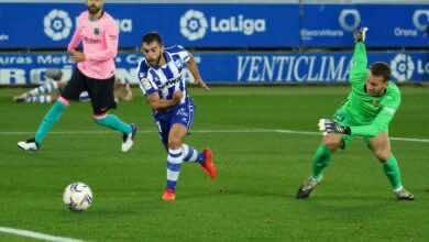 اهداف مباراة برشلونة وآلافيس فى الدوري الاسباني (صور:AFP)