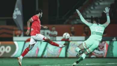 صور مباراة الاهلي وانبي - لحظة تسجيل مروان محسن الهدف الأول