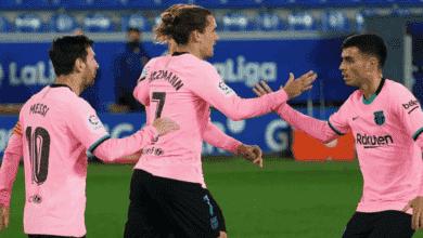 جريزمان يعدل النتيجة في مباراة برشلونة وآلافيس في الدوري الاسباني