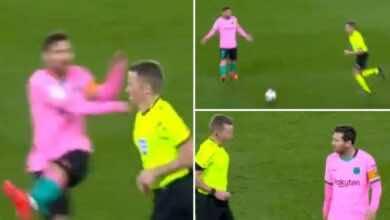 لقطة اعتداء ميسي على الحكم هيرنانديز هيرنانديز في مباراة برشلونة وآلافيس في الدوري الاسباني