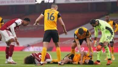 إصابة راؤول خيمينيز في الجمجمة بمباراة ولفرهامبتون وآرسنال بملعب الإمارات!