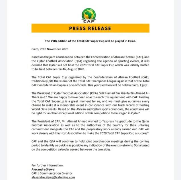الكاف يمنح مصر حق استضافة كأس السوبر الافريقي 2020 بدلاً من قطر