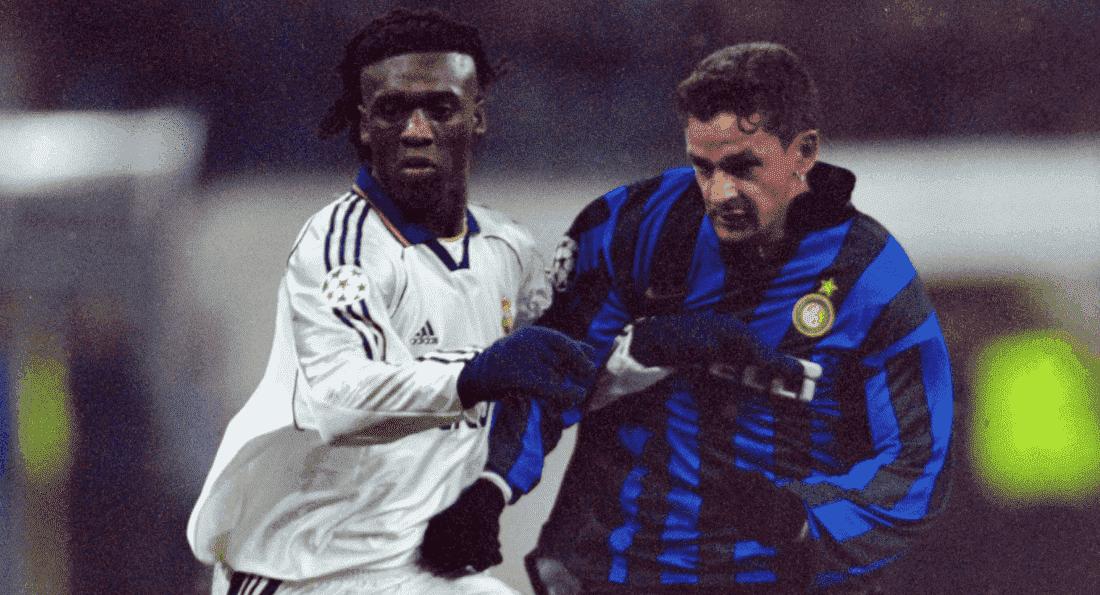 روبرتو باجيو وكلارينس سيدورف في مباراة الانتر وريال مدريد بمجموعات دوري ابطال اوروبا 1998