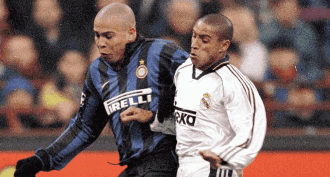 الظاهرة رونالدو وروبرتو كارلوس في مباراة الانتر وريال مدريد بدور مجموعات دوري أبطال أوروبا عام 1998