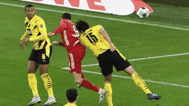 ليفاندوفسكي يسجل الهدف الثاني في مباراة بوروسيا دورتموند وبايرن ميونخ في الدوري الالماني
