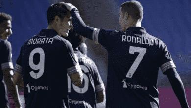رونالدو يحتفل مع موراتا بعد تقدم يوفنتوس أمام لاتسيو في الدوري الايطالي