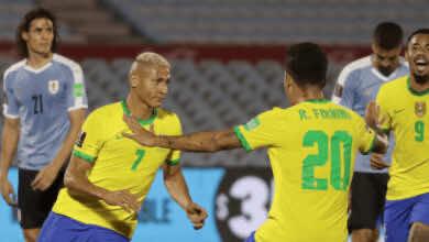 ريتشارلسون يسجل الهدف الثاني في مباراة أوروجواي والبرازيل بتصفيات كأس العالم 2022