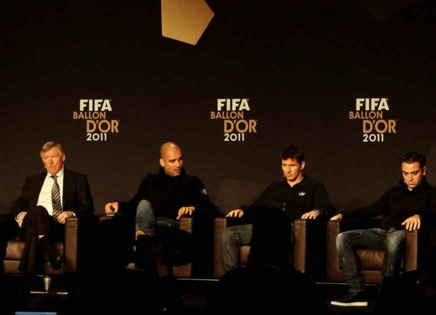 فيرجسون وجوارديولا وميسي وتشافي في حفل فيفا بالون دور أفضل لاعب في العالم 2011