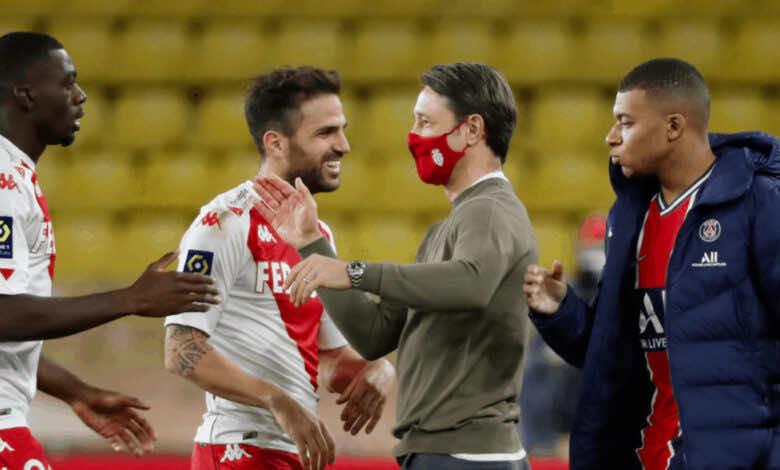 فابريجاس ونيكو كوفاتش ومبابي بعد ريمونتادا موناكو أمام باريس سان جيرمان في الدوري الفرنسي