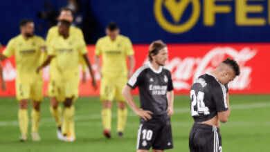خيبة أمل مودريتش وماريانو دياز بعد تسجيل فياريال لهدف التعادل في مرمى ريال مدريد