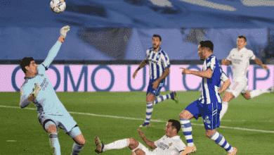 لوكاس بيريز يهدر هدفًا في مباراة ريال مدريد والافيس في الدوري الاسباني بعد تألق كورتوا