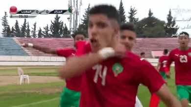 المهدي موهوب لاعب منتخب المغرب للشباب يسجل هدف الفوز امام الجزائر في تصفيات امم افريقيا 2021