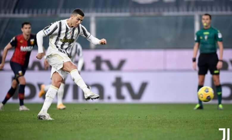 رونالدو يسجل فى مباراة فوز يوفنتوس على جنوي 3-1 بالدوري الايطالي (صور:twitter)
