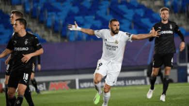 كريم بنزيمة يقود ريال مدريد لهزيمة مونشنجلادباخ في دوري ابطال اوروبا بتسجيل هدفين من رأسيتين