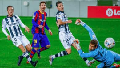 ليونيل ميسي يسجل هدف فوز برشلونة امام ليفانتي في الدوري الاسباني