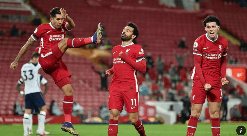 ثنائي ليفربول صلاح وفيرمينو يحتفلان بالتقدم على توتنهام