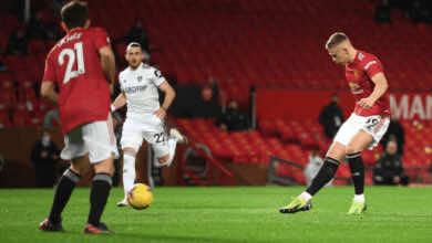 سكوت مكتوميناي يسجل ثنائية في اول 3 دقائق في مباراة مانشستر يونايتد وليدز يونايتد في الدوري الانجليزي 2021/2020 - صور AFP