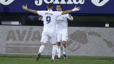 بنزيمة يصنع الهدف الثالث للوكاس فاسكيز في مباراة ايبار وريال مدريد