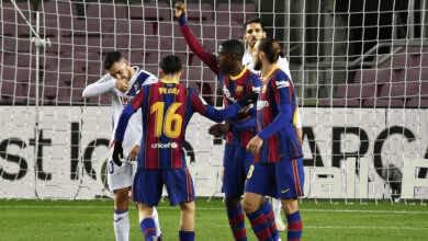 عثمان ديمبيلي يسجل هدف في مباراة برشلونة ايبار الدوري الاسباني موسم 2021/2020 - صور AFP