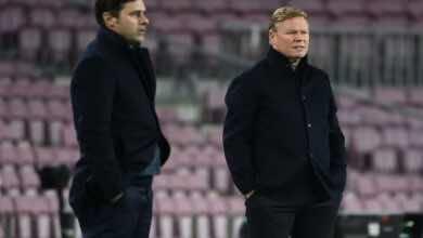 كومان يعترف بتفوق سان جيرمان وضعف فرص برشلونة بعد الهزيمة الكبيرة - صور Afp