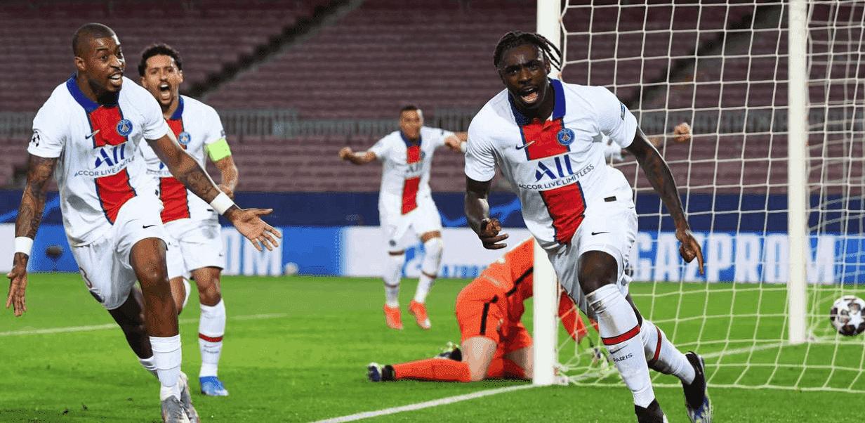 مويس كين يسجل هدف باريس سان جيرمان الثالث امام برشلونة في دوري ابطال اوروبا 2021