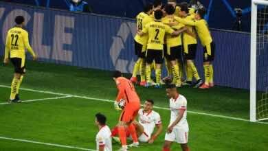 نتيجة مباراة بوروسيا دورتموند واشبيلية في دوري ابطال اوروبا (صور:AFP)