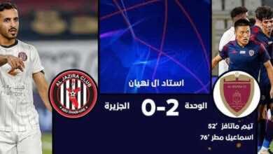 """نتيجة مباراة الجزيرة والوحدة في الدوري الاماراتي """"ديربي أبو ظبي وحداوي"""""""