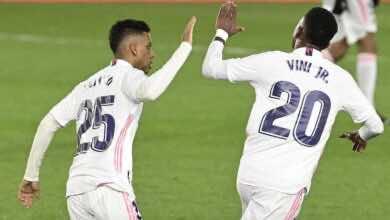 فينسيوس جونيور يسجل هدف تعادل ريال مدريد امام ريال سوسيداد في الدوري الاسباني الجولة 25