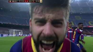 بيكيه يسجل هدف تعادل برشلونة امام اشبيلية في إياب نصف نهائي كأس ملك اسبانيا 2021 - صور AFP