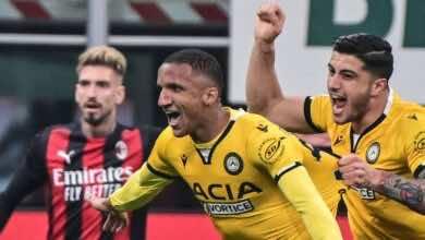 أودينيزي يفاجيء ميلان بهدف عن طريق رودريجو بيكاو في الدوري الايطالي 2021