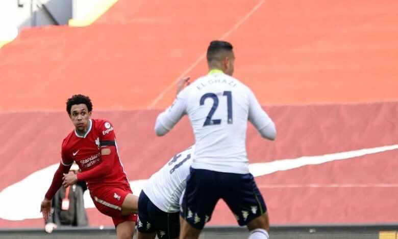 فيديو | مشاهدة اهداف مباراة ليفربول واستون فيلا في الدوري الانجليزي (صور:AFP)