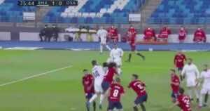 ميليتاو يسجل هدف ريال مدريد في مرمى اوساسونا بالدوري الاسباني