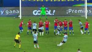 هدف ليونيل ميسي في مباراة الارجنتين وتشيلي بافتتاح كوبا امريكا 2020