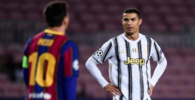 ميسي ورونالدو في مباراة برشلونة ويوفنتوس ببطولة دوري ابطال اوروبا 2020 - صور Getty