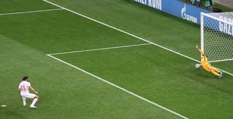 Hugo Lloris saves a penalty kick from Ricardo Rodriguez during the France-Switzerland match at Euro 2020
