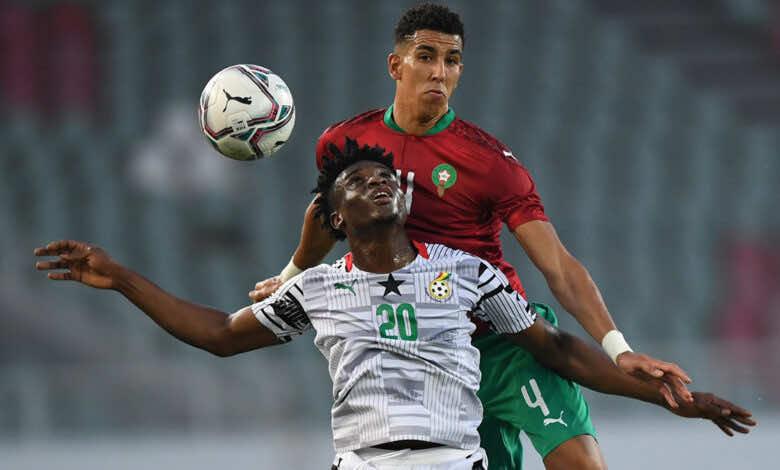 شاهد فيديو اهداف المغرب وغانا في تحضيرات تصفيات كأس العالم 2022 «الياميق يحسمها»