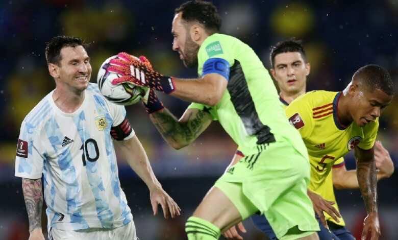 شاهد فيديو اهداف مباراة الارجنتين وكولومبيا فى تصفيات كأس العالم 2022 (صور:AFP)