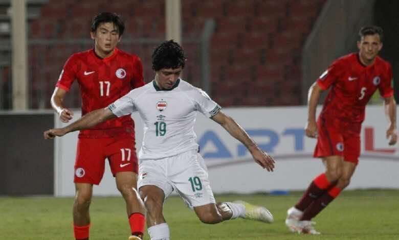 شاهد فيديو اهداف مباراة العراق وهونج كونج فى تصفيات كأس العالم 2022 (صور:AFP)