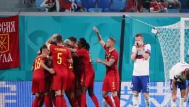 نتيجة مباراة بلجيكا وروسيا فى يورو 2020 (صور:AFP)