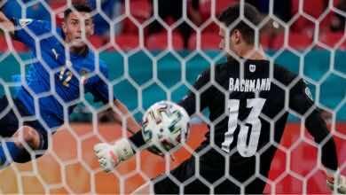 شاهد فيديو اهداف مباراة ايطاليا والنمسا في بطولة يورو 2020 (صور:AFP)