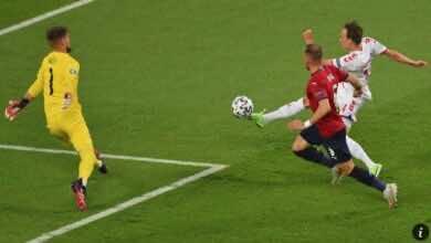 الدنمارك تبلغ نصف نهائي يورو 2020 بفوز صعب على التشيك..وباتريك شيك يشارك رونالدو
