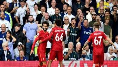 نتيجة مباراة ليفربول وليدز يونايتد في الدوري الانجليزي (صور:AFP)